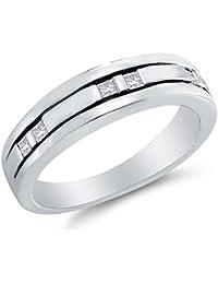14K White Gold Princess Cut Diamond Mens Wedding Band Ring