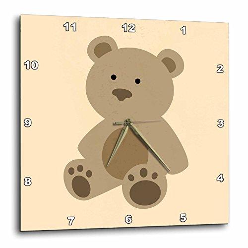 Teddy Bear Wall Clock - 3dRose Cute Teddy Bear - Wall Clock, 10 by 10-Inch (dpp_224228_1)