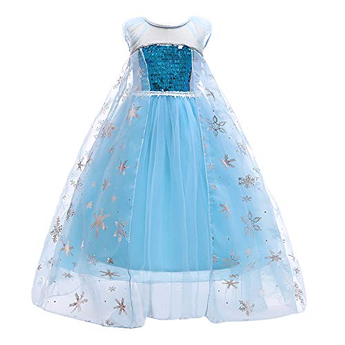 LEHNO Snow Queen Princess Elsa Costumes for Girls Birthday Party Dress Up for Little Girls (Blue Short Sleeve, Age:3-4Y Height 43.3''(110cm)) ()