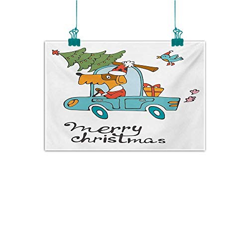 (Abstract Painting Christmas Blue Vintage Car Dog Driving with Santa Costume Cute Bird Tree and Gift Present Home and Everything W24 xL16 White)