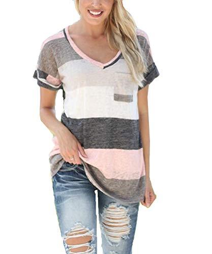 ZAWAPEMIA Womens Striped Tshirt Triple Color Block Short Sleeve Casual Blouse