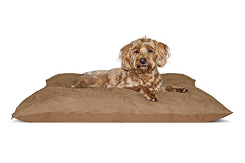 FurHaven NAP Oxford & Suede Pillow Pet Bed for Dogs and Cats, Camel, 27-Inch x 36-Inch by Furhaven Pet