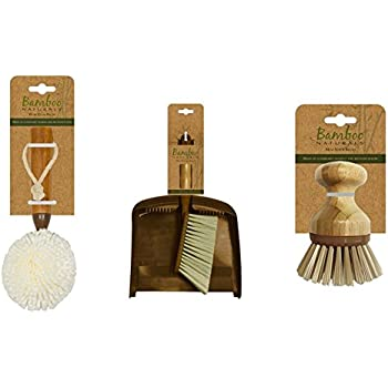 Evriholder Bamboo Naturals Cleaning Set, Kitchen Essentials Pack Includes Wine Glass Brush, Dust Pan and Hand Broom, & Mini Scrubber