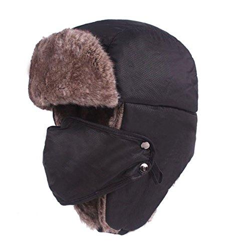 (Spring Fever Winter Trooper Trapper Hat Faux Fur Hunting Ushanka Ear Flap Mask for Men and Women Black One)