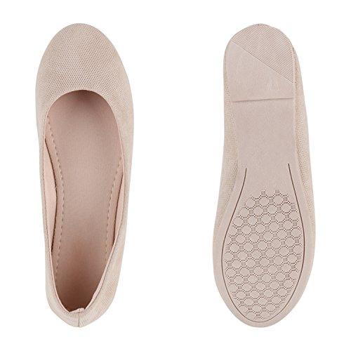 Stiefelparadies Damen Ballerinas Lack Stoff Slippers Schleifen Velours Ballerina Schuhe Slipper Flats Leder-Optik Flache Sommerschuhe Flandell Creme Full