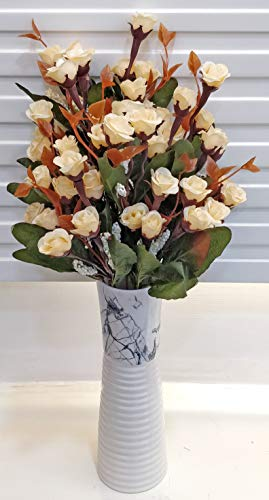 ARTSY® Artificial Flowers for Decoration Mini Rose Cream Bunch Pack of Two (Combo) Dry Cut Finish| Small Size Bunch | VASE NOT Included |