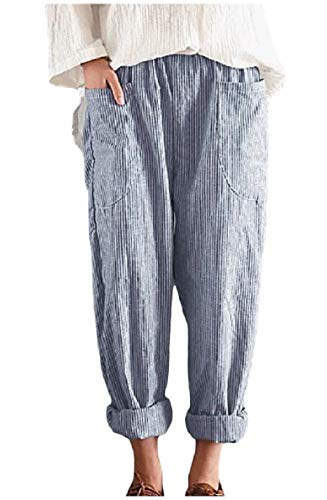 Zimaes-Women Stripes Plus Size Pocket Empire Waist Relaxed Weekend Harem Pants Blue 4XL