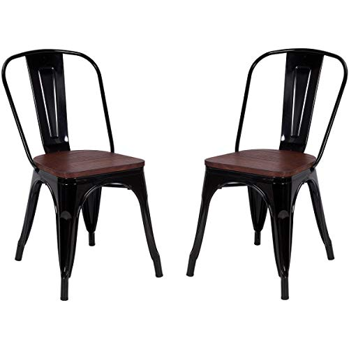 Costway Tolix Style Dining Chairs Industrial Metal Stackable Cafe Side Chair w/Wood Seat Set of 2 (Black)