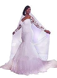 XingMeng Elegant Long Sleeve Mermaid Wedding Dress 2019 Lace Tulle Plus Size Bridal Gown