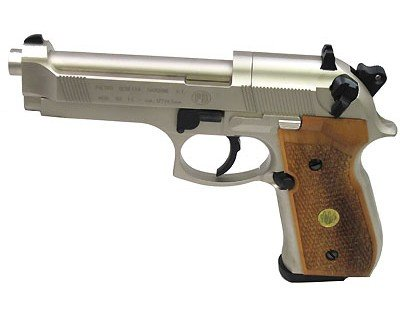 - Beretta 92FS, Nickel, Wood Grips air pistol