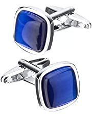 Cufflinks with Tiger Eye Stone for Men - Blue