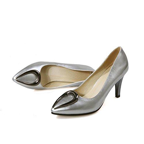 Corte Zapatos 3 Nvxie Alto Tacón Puntiagudo Pie 5 Silver 36 Eur Estilete Rojo Mujeres Del 4 Zapatillas Fiesta Vestir uk eur35uk3 Boda Señoras Blanco Dedo qpwntAREw