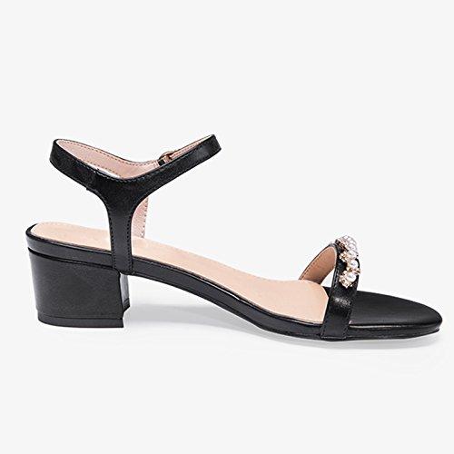 De Sandalias Verano Simple Zapato Y Una De De Estilo Femenino Tamaño Altura Palabra Agua JIANXIN Negro Color Taladro Hebilla 35 Negro Primavera n4IYPn8q