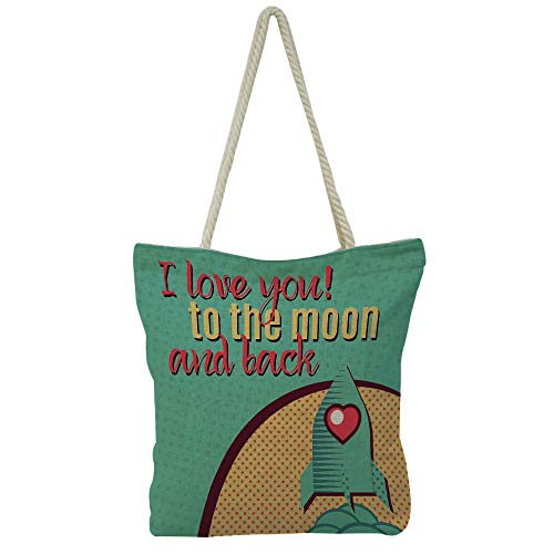 (iPrint Handbag Cotton and Linen Shoulder Bag Leisure Fashion,I Love You,Rocket on The Road of Space Adventurist Cosmic Couples Happy Birthday Theme Decorative,Multicolor,Customizable)