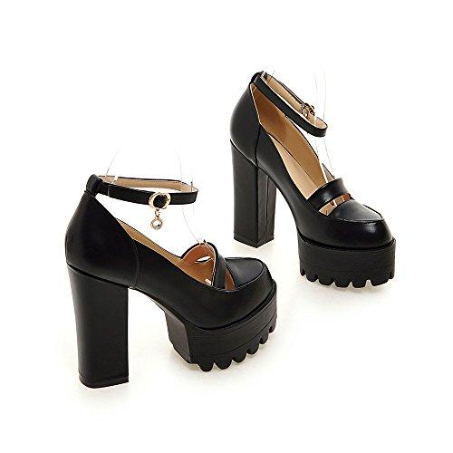 Minivog Cheville Sangle Chunky Lug Semelle Plate-forme Femmes Chaussures Avec Charmes Noirs
