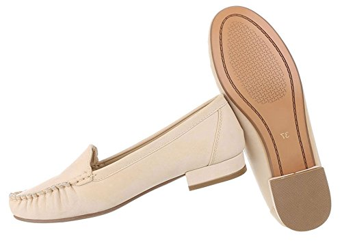 Hochwertige Damen Mokassins | Loafers Slipper | Leder-Optik Flats | Profilsohle Trensen Deko | Segelboot Schuhe | Rutschfeste Sohle | Schuhcity24 Beige