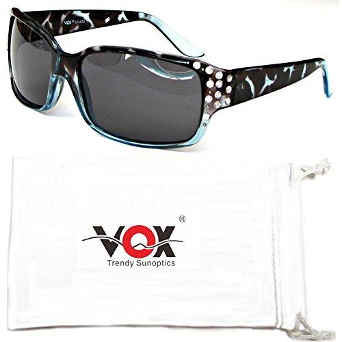 Vox Womens Polarized Sunglasses Designer Fashion Rhinestones Free Microfiber Pouch