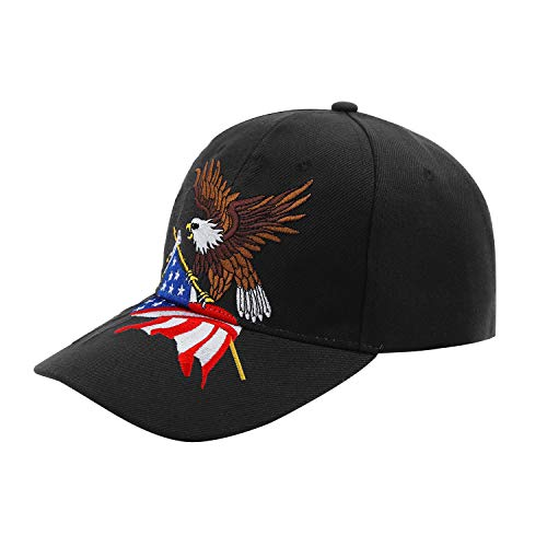 3D Embroidery Dad Hat Patriotic Eagle American Flag Adjustable Baseball Cap Classic Strapback Cap (Dark Black) ()