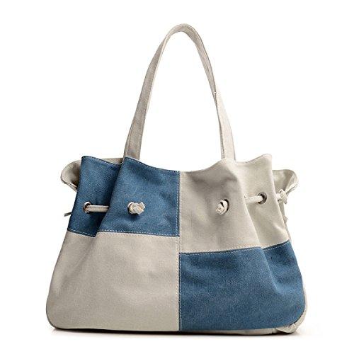 Frauen Jahrgang Leinwand Schulter Ipad Messenger Handtasche Arbeiten Freizeit Tasche ,Blue-39cm*9cm*26cm