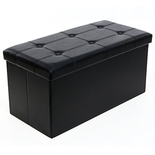 SONGMICS Folding Storage Ottoman Coffee Table Foot Rest Stool, Faux Leather, Black ULSF105 (Ottomans Table)
