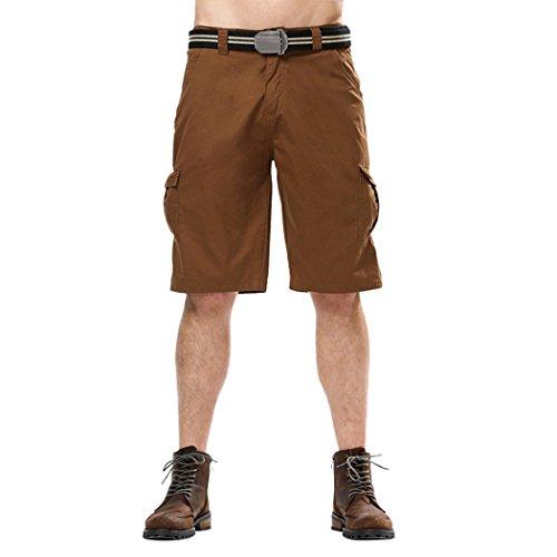Snowman Lee Men's Casual Slim Fit Cotton Solid Multi-Pocket Cargo Shorts Brown 40