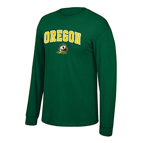 Elite Fan Shop NCAA Men's Oregon Ducks Long Sleeve Shirt Team Color Arch Oregon Ducks Green Large