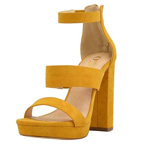 Olivia and Jaymes Women's Strappy Triple Band Ankle Strap Chunky Platform High Block Heel Sandal for Wedding Party Office USA (8.5, Mustard)