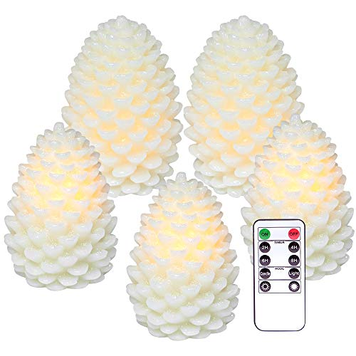 DRomance LED Flameless Candles, Flameless Real Wax Pine Cone Shaped LED Candles for Christmas Holiday Decorations with Remote Control, Battery Operated Set of 5, Two D4