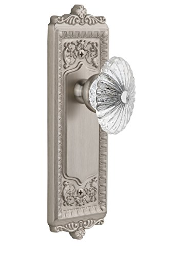 - Grandeur Windsor Plate with Burgundy Crystal Knob, Single Dummy, Satin Nickel