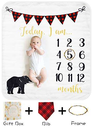 Baby Monthly Milestone Blanket for Boy Girl, Organic Thick Fleece Personalized Photography Background Blankets, Large for Mom Newborn Baby Shower Gifts + Bib + Frame (Elephant, 47x43in)