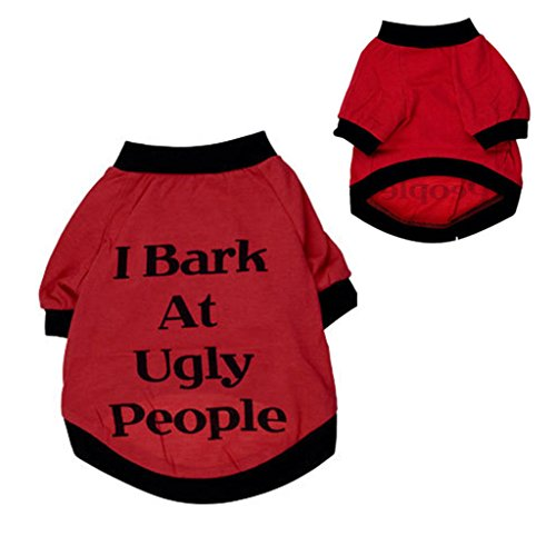 Classic Fashion Red Dog Cats Clothes T Shirt, Ninasill Sweatshirt for Pets Puppies Small Large Dogs I Bark At Ugly People (M)
