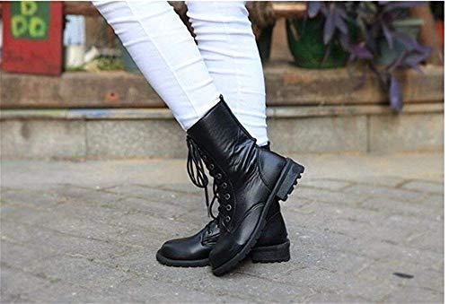 Sed Eu nero Bandage Grosso Scarpe Eu 35 Casual Boots Tacco 's 36 Donne Short Cross Pu rOxrf7q