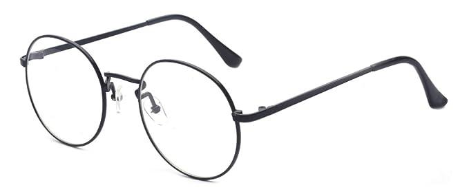 968ca2b2b Amazon.com: Outray Retro Round Metal Clear Lens Glasses 2136c1 Black ...