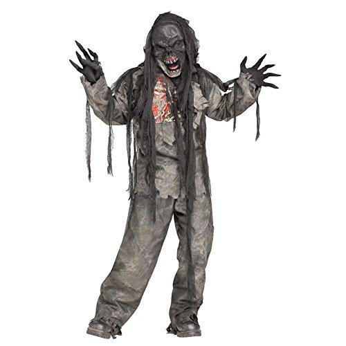 Burning Dead Zombie Costume for Kids (Medium 8-10)