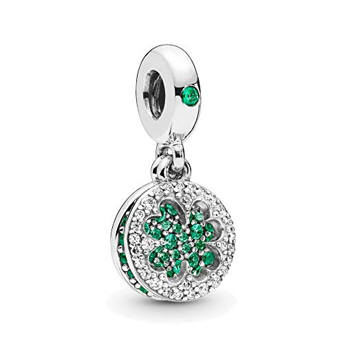 Dazzling Four Leaf Clover Dangle Charm Authentic 925 Sterling Silver Green Lucky Beads fit Pandora Bracelets (Green Crystal)
