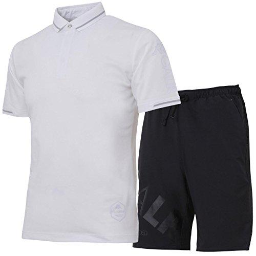 次修士号開業医カッパ(Kappa) 半袖ポロシャツ&プラクティスパンツ上下セット(ホワイト/ブラック) KF812SS22-WT-KF812SP22-BK