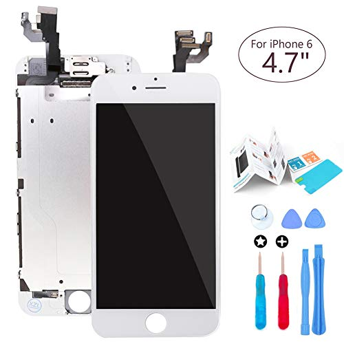 ibaye Screen Replacement LCD Touch Digitizer Compatible iPhone 6 4.7 White Full Assembly Built-in Components(Facing Proximity Sensor, Ear Piece, Front Camera),Tools