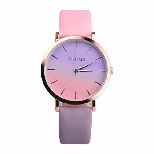 Qisc Womens Watches, Retro Rainbow Design Leather Band Analog Alloy Quartz Wrist Watch colorful (K)