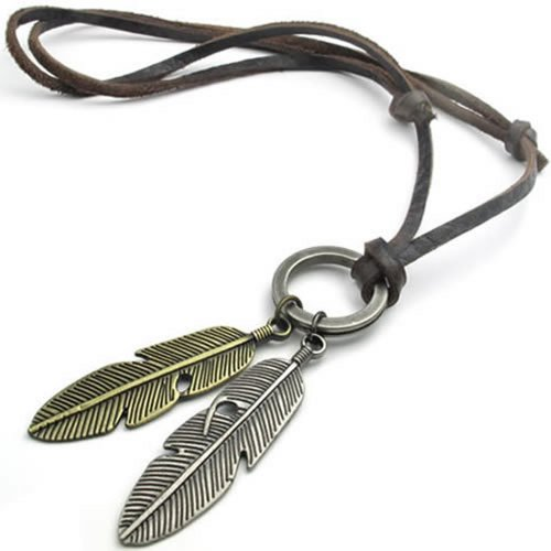 KONOV Vintage Angel Feather Pendant Leather Cord Mens Necklace Chain, Gold Silver Brown