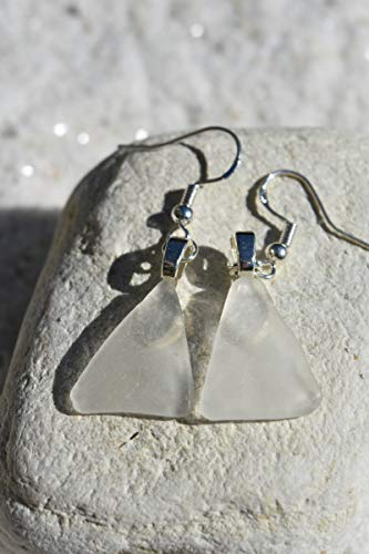 Frosted White Sea Glass Dangling Earrings