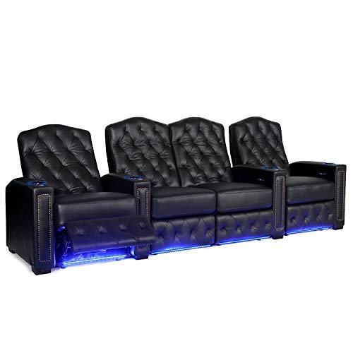 (Octane Regal XL250 Power Recline Black Leather Home Theater Seating (Set of 4 with Loveseat))