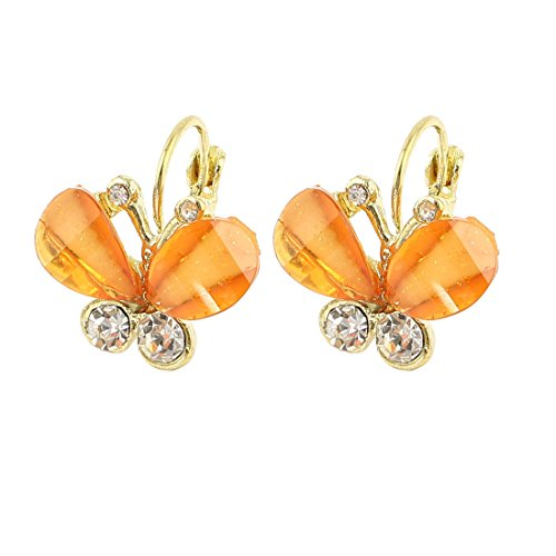 Meenanoom Women Butterfly Shape Rhinestone Decor French Clip Earring Clear Orange - Butterfly Earrings Jewelry Rhinestones