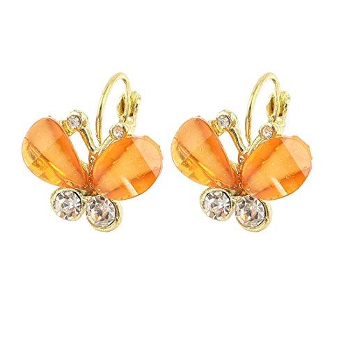 Meenanoom Women Butterfly Shape Rhinestone Decor French Clip Earring Clear Orange - Jewelry Butterfly Rhinestones Earrings