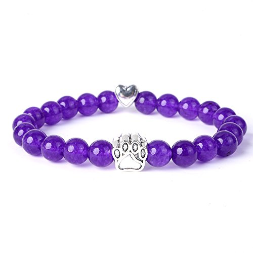 et with Dog Paw Charm Lava Tiger Eye Stone Elastic Stretch Beaded Bracelets (Amethyst) (Amethyst Power Bracelet)