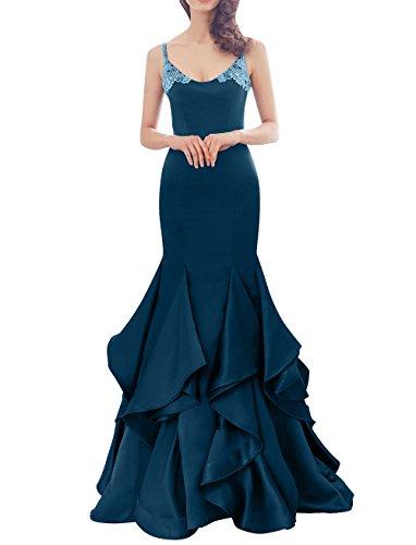 Langes Meerjungfrau La V Blau Ballkleider Satin Partykleider mia Ausschnitt Abendkleider Brau Trumpet Etuikleider Tinte SAIzS