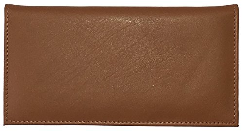 Light Brown Basic Leather Checkbook Cover