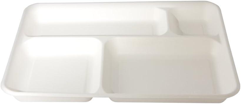 Quadrato 2 Scomparti decomponibile 25 Pezzi BIOZOYG DTW05589 Piatto Usa e Getta in Foglia di Palma 25x15 cm