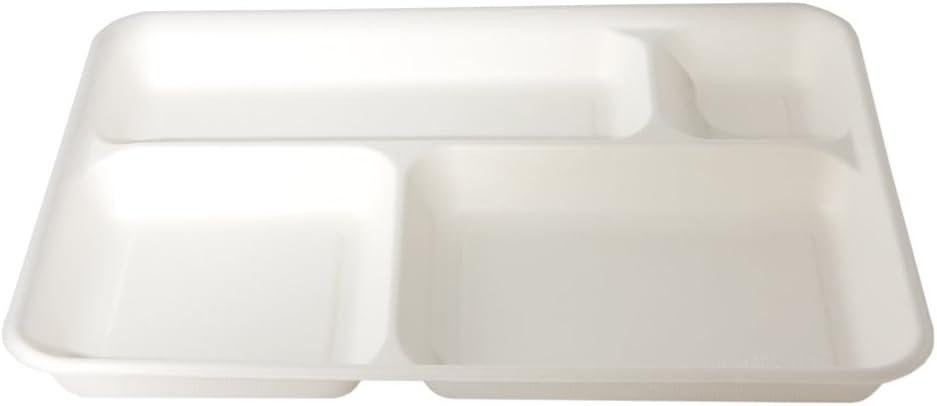 CARTONE MAXI 320pz BIODEGRADABILI e COMPOSTABILI Vassoi monouso 4 scomparti in polpa di cellulosa 37x27cm
