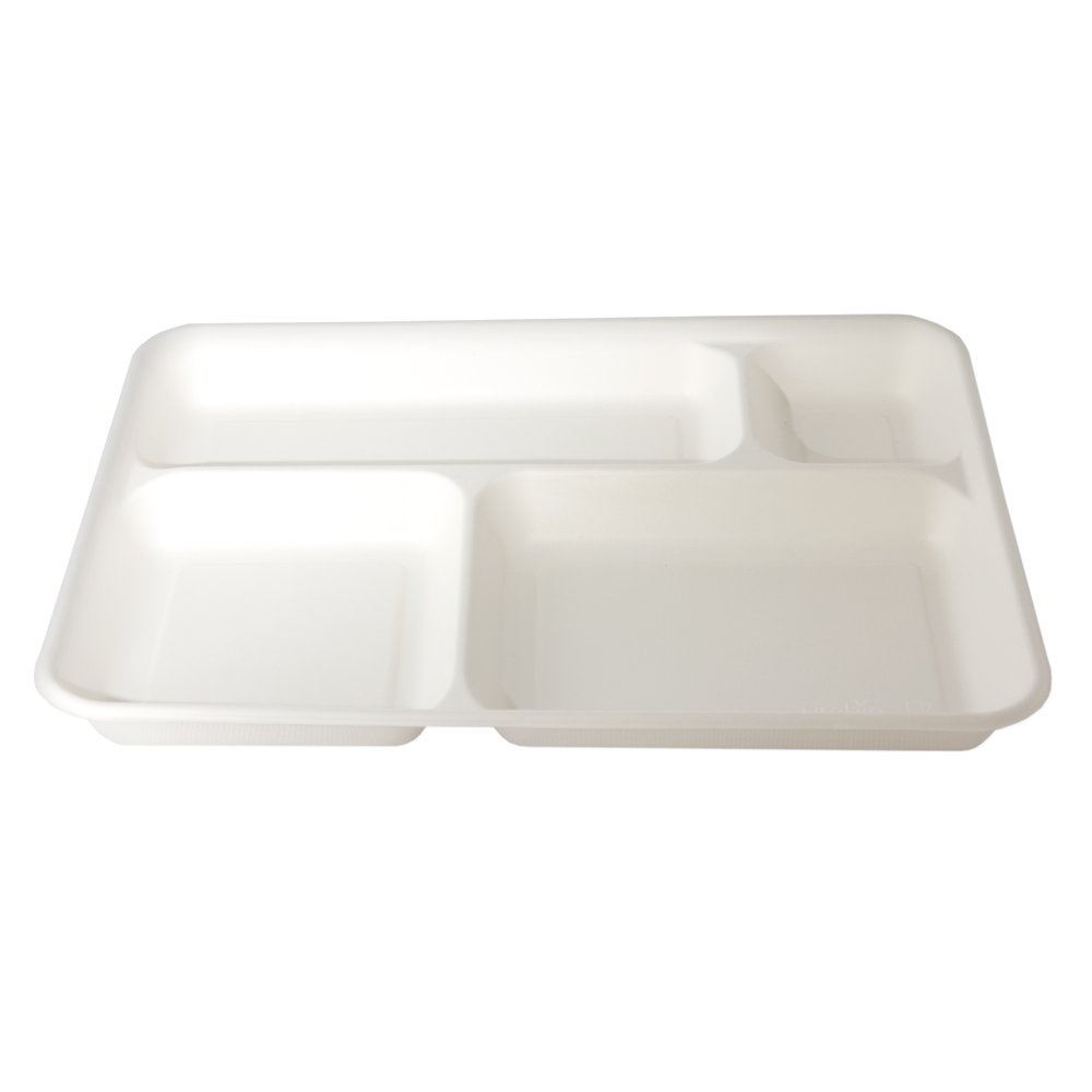 Bandejas desechables 4 compartimentos de pulpa de celulosa 37 x 27 cm - biodegradables y compostables - Cartón Maxi 320pz: Amazon.es: Hogar