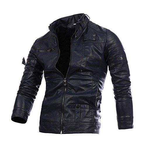 Classic Pinstripe Coat (Coohole Men's Leather Jacket Autumn Winter Biker Motorcycle Zipper Outwear Hooded Warm Coat (M, Navy))